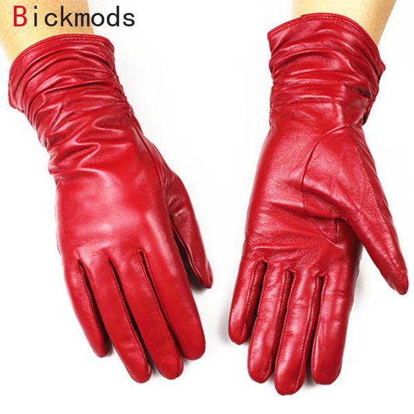 Guantes de cuero para mujer estilo suelto 30 cm largo forro de terciopelo otoño e invierno mujer cálida guantes de piel de oveja D18110705