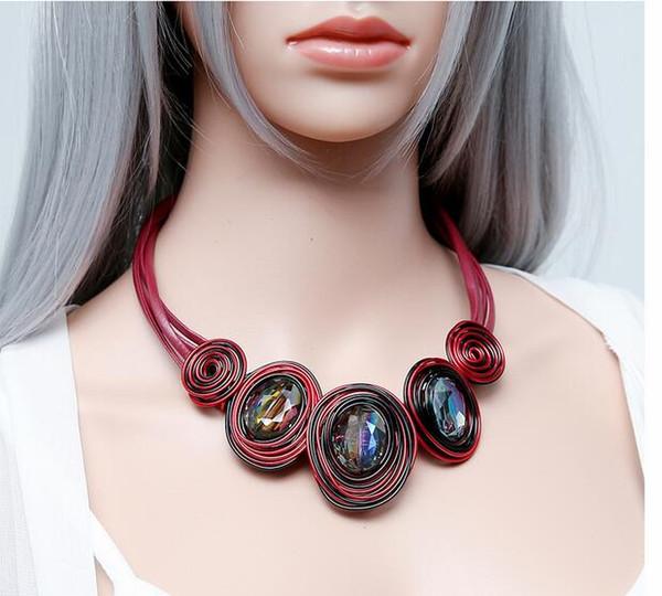 HanCheng Nueva Moda Cuerda de Cuero Trabajo Hecho a Mano Creado Collar de Gargantilla de Cristal de Las Mujeres Collares declaración joyería collar bijoux