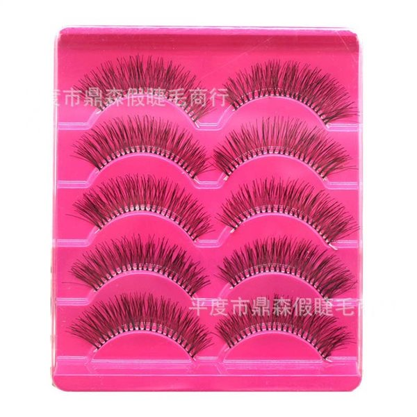 5Pairs/box Long Black Handmade Cross False Eyelashes Transparent Plastic Band Fake Eye Lashes Makeup Extension Tools Accessories