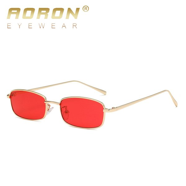 AORON Women Metal Sunglasses Men  Small Square Sun Glasses Female Yellow Pink Lens Glasses Small Frame Shades Eyeglass