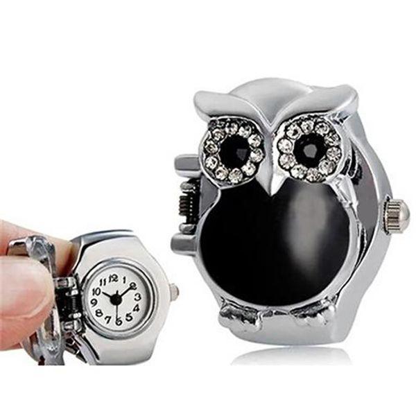 Fashion Top  Women Girl Shiny Rhinestone Owl Case Stainless Steel Elastic Finger Ring Watch hot