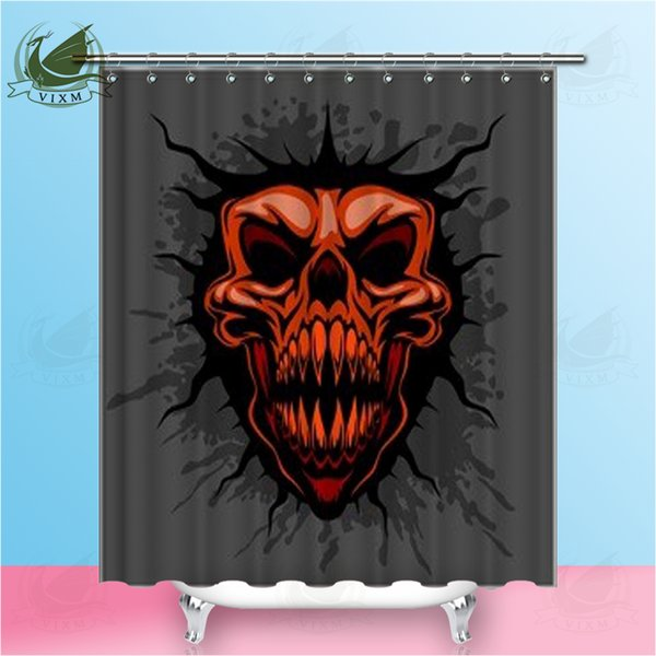 """Vixm Home Skull Of Blood Splatters And Lilies Fabric Shower Curtain Tattoo Style Bath Curtain For Bathroom With Hook Rings 72"""" X 72"""""""