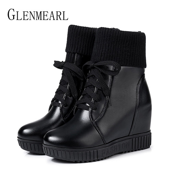 Women Boots Ankle Winter Shoes Flat Platform Lace Up Ladies Casual Shoes High Heels Martin Boots Woman Plus Size Black Round Toe