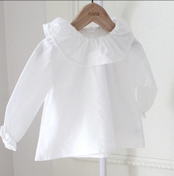 Herbst Mädchen Baumwolle Rüschen Jumper Tees Weihnachten Kinder Kleidung Casual White T-shirts Kinder Kleidung Mädchen Tops