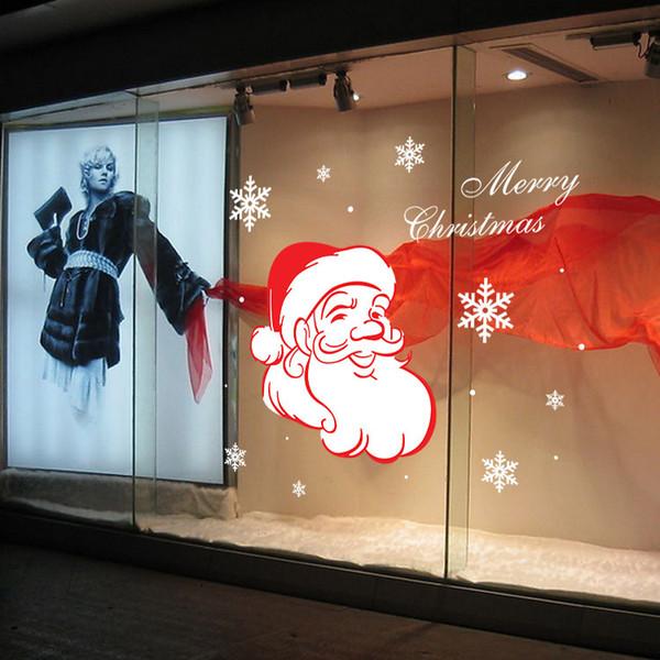 Personalized Creative DIY New year hot Cartoon Santa Claus SnowFlake Wall Stickers Mural Christmas Wallpaper Xmas Art Home Window Decoration