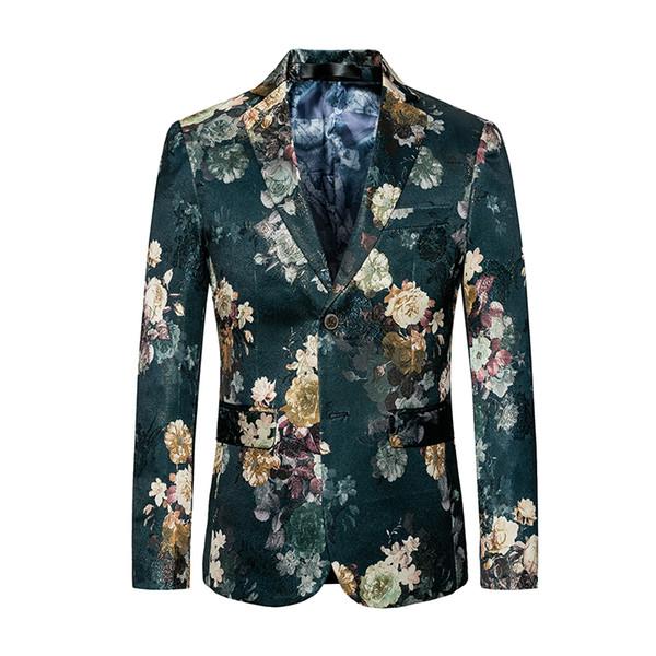 Blazer Slim Fit 2017 de los hombres del juego de la chaqueta del traje verde de lujo Primavera elegante del verano del encanto de los hombres del traje ocasional de la etapa