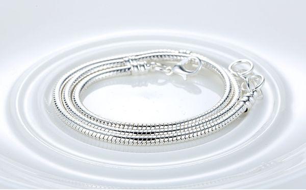 Comercio al por mayor 45 CM 925 Charm Silver Fit Fit Pandora Collar Serpiente Cadena Plata 925 Joyería Original Amantes Joyería Diy Cadena Serpiente