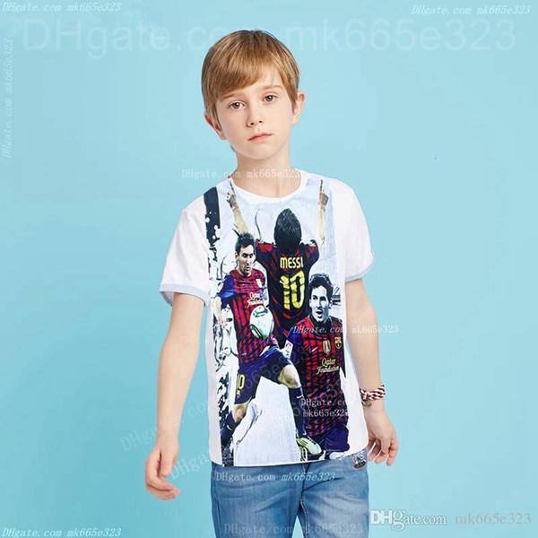 Boys Summer T-shirt Football Star Shirt 3D Digital Sports Suits Short Sleeve Tees Sports Clothes Cotton Tops Kids Clothing