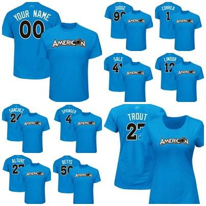the best attitude a6094 5a7af 2019 American League 2017 All Star Game Male Female Kids Carlos Correa  Chris Sale Aaron Judge 12 Player Name Gary Sanchez Ose Altuve T Shirts From  ...
