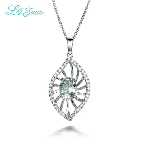 925 Sterling Silver 1.338ct Crystal Green Leaves Trendy Pendant Fashion Necklace For Women Jewelry Simple Elegant Design