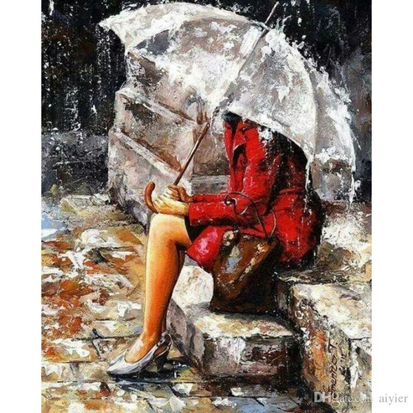5D DIY Diamond Painting Full Embroidery Inlay Umbrella Red Girl Slate Art Fashion Crafts Gift Mural Home Wedding Party Decoration