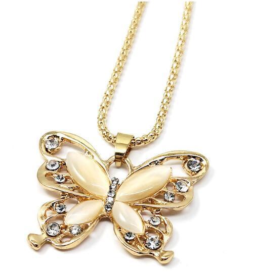 Европейская и американская популярная корейская версия новой длинной цепи свитер бабочка опал ожерелье модный классический тонкий