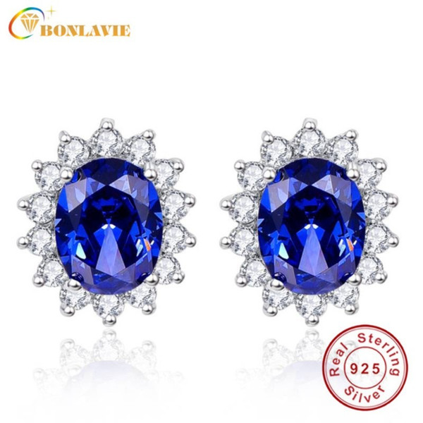 best selling BONLAVIE 3ct Blue Tanzanite Earrings Luxury Kate Princess Diana 925 Sterling Silver Engagement Wedding Stud Earrings Brincos D1892601