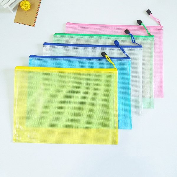 PVC A4 File Bags With LOGO Office School Filing Products Plastic Transparent Document Bags Square Zipper Form Information Bag