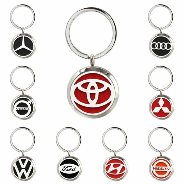 Nissan Volvo Car Logo Stainless Steel 30mm Essential Oil Diffuser Locket Aroma Perfume Locket Keychain Keyrings 10 Pads