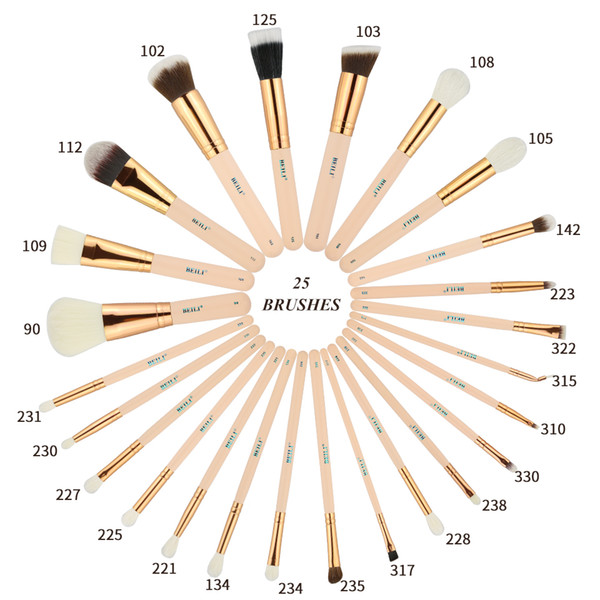 BEILI Pink 25 Pieces Natural goat hair Synthetic Wool fiber Powder Foundation Concealer Blusher Eye shadow Makeup Brush Set