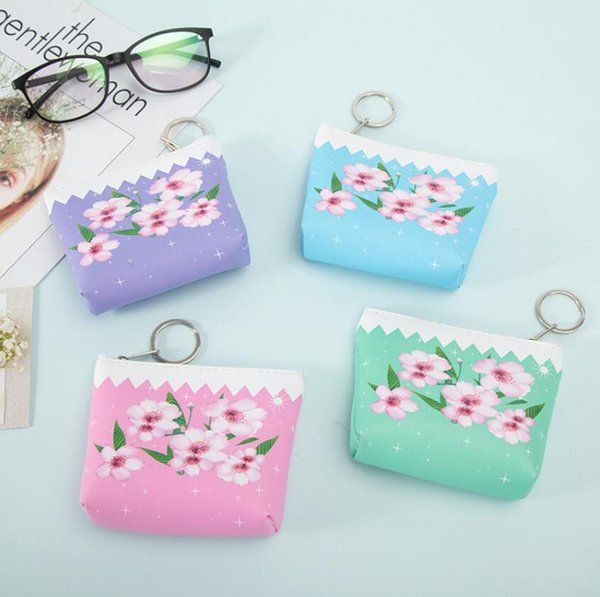 Beautiful Peach Florals Coin purse ladies PU leather hand take small coin bag Pouch Card Holder Money Wallet Gift
