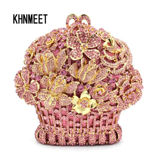 Designer de luxo Flor Rosa Strass Embreagem de Cristal Do Partido Do Casamento Bolsas Bolsa de Noite de Embreagem Das Mulheres de Diamante de Prata de Ouro 599 Y18110101
