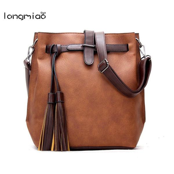 longmiao Leather Belt Bags for Women 2017 New Style Women Cross Pattern Lock Flap Casual Tassel Zipper Small Fringe Bags