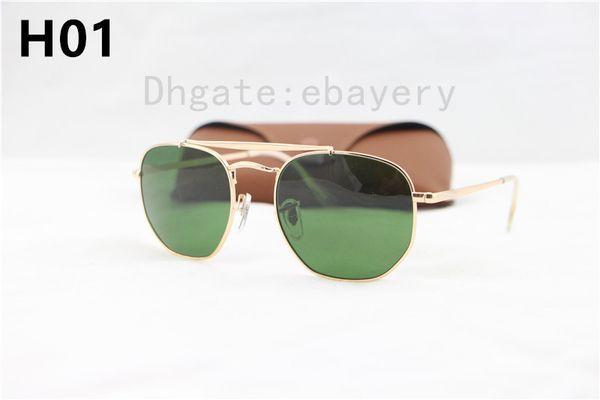 2018 gafas de sol de calidad superior para hombre estilo unisex metal UV400 oro verde lente de vidrio cuadrado vintage gafas de sol masculino 3648 con estuche, estuche