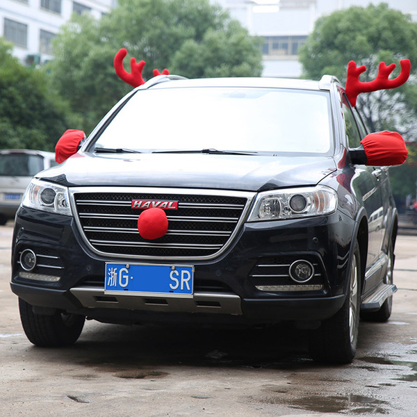 Christmas Car Decoration Toy Windows Plush Reindeer Antlers and Red Nose Set Home Party Decoration Festive Supplies Car Costume