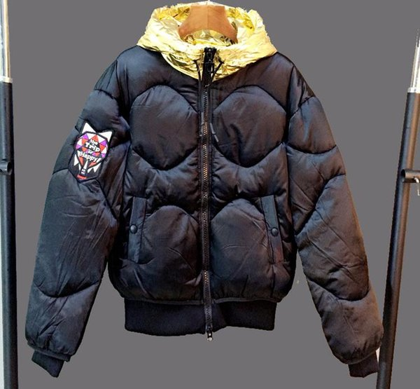 2017 winter down jacket star with paragraph two color gold silver feather cotton short cotton-padded clothes