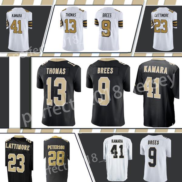 New Orleans Saints 9 Drew Brees 41 Alvin Kamara 23 Marshon Lattimore 13  Michael Thomas 28 Adrian Peterson Men s Jersey 93938564f