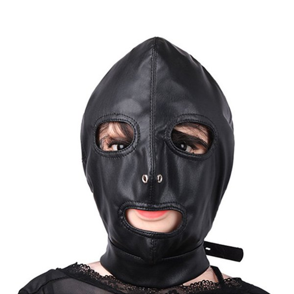 Black Masks Sexy Fetish Leather Head Harness PU Leather Bondage Kits Restraint Gear Adult Game Mask Hood Sex Product J10-1-44