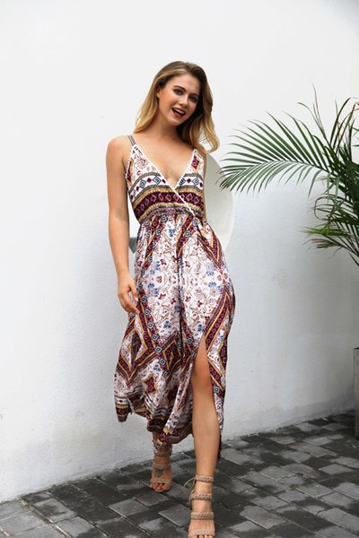 Plus size boho vintage women sling v neck romper floral print jumpsuits split wide leg pants playsuits