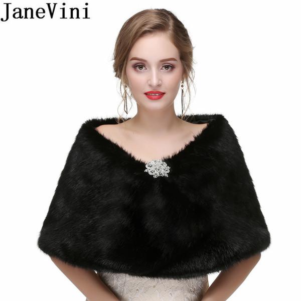 JaneVini 2018 Pelz Cape Schals Abendkleider Black Shrug Perlen Pin Short Shrugs für Frauen Braut Wrap Bolero Hochzeit Faux Pelzmantel Stola