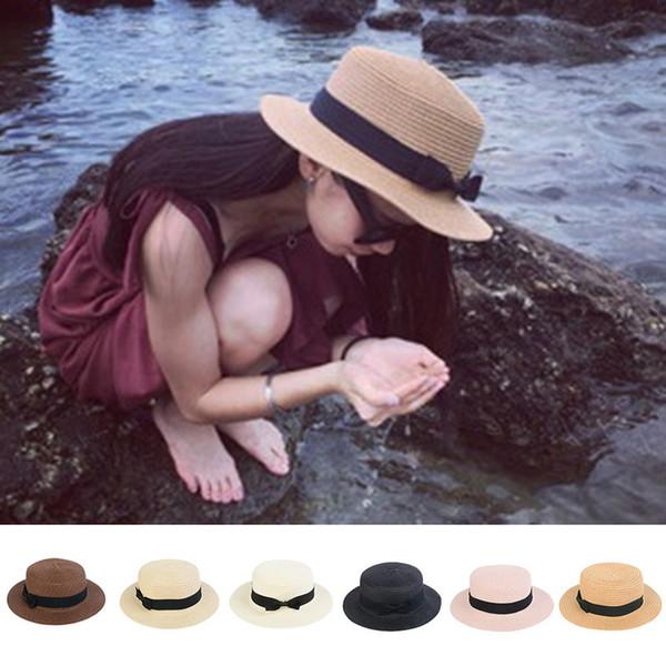 8b67409c Laamei 2018 Summer Women Boater Beach Hat Female Casual Panama Hat Lady  Brand Classic Bowknot Straw