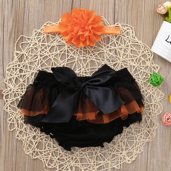 Warm in autumn winter 2PCS Halloween Toddler Baby Girls Casual Patchwork Cotton Bowknot Chiffon Shorts+Headbands Set Outfit #30