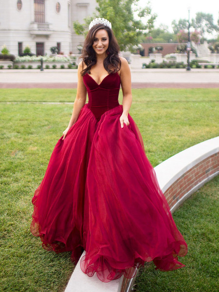 Burgundy Red Ball Gown Prom Dresses Long 2018 Sweetheart Velvet Tiered Tulle Sweep Train Evening Gowns Formal Dress vestidos de fiesta