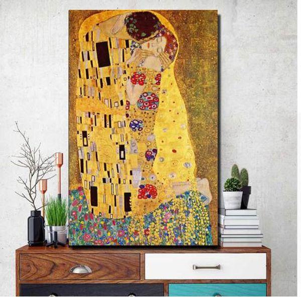 Gustav Klimt Kiss Dipinti su tela sul muro, Replica celebre dipinto per soggiorno, Figura poster e stampe senza cornice