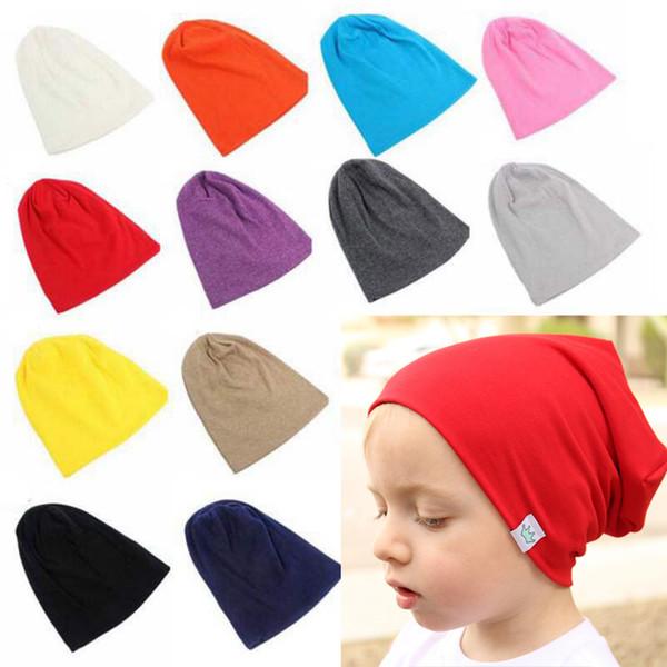 Herbst Winter Soild Farbe Hut Kinder Weiche Gestrickte Baumwolle Beanie Baggy Slouchy Jungen Mädchen Kappe Warme Ohrenschützer Crown Hüte