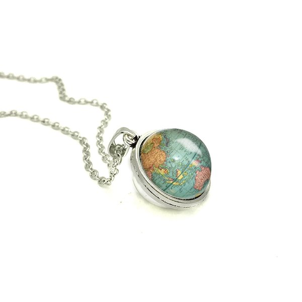 2018 New Globe Double Sided Necklace Planet Earth World Map Art Pendant Glass Cabochon Necklaces Hand Craft Jewelry