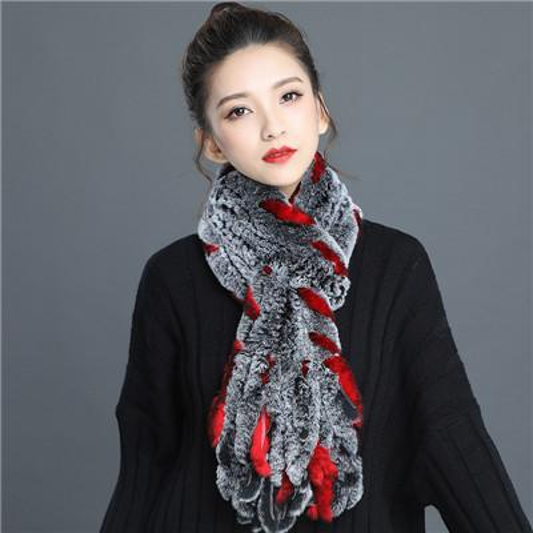 winter warm real fur scarf grid knitted rex rabbit fur tassel scarf