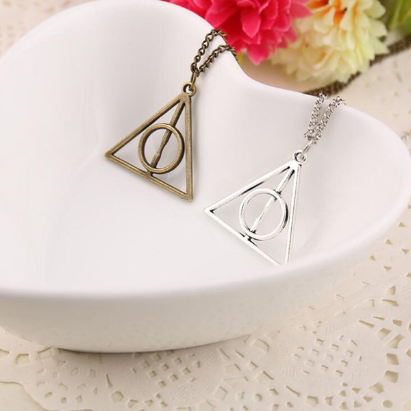 50pcs Harry Book The Deathly Hallows Necklace Antique Silver Bronze Gold Deathly Hallows Pendants Potter Fashion Jewelry Best Selling
