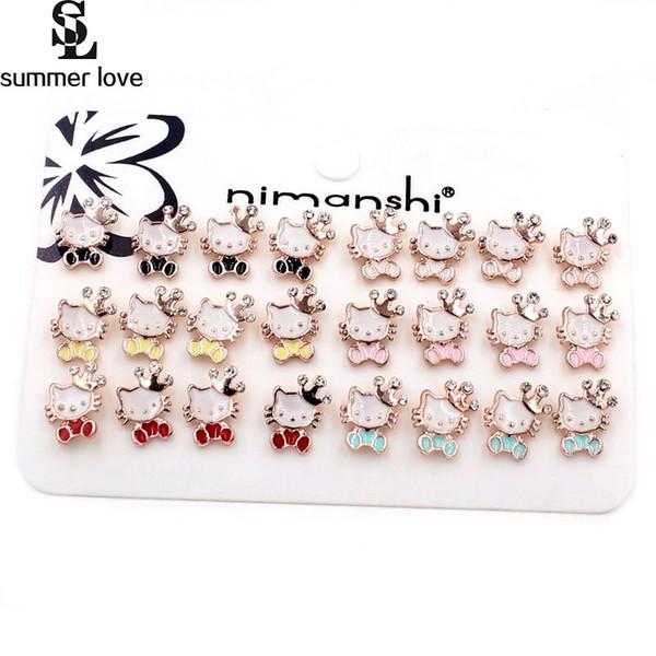 07bbc8c24 Korean Stud Earrings Lovely Cute Cat Earrings For Girls Children Enamel  Alloy Crystal Crown Animal Hello
