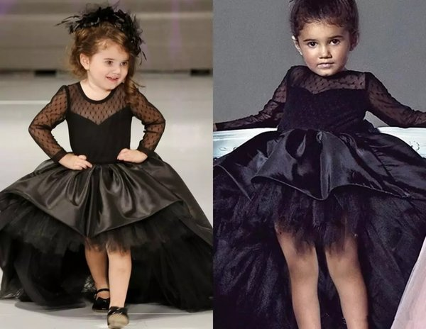 Black Tulle Ball Gown High Low Kids Pageant Dresses Long Sleeves Sheer Back Bow Flower Girl Dresses Satin Kids Formal Party Gowns