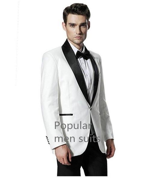 2018 homens modernos ternos marfim xale lapela casamento smoking Padrinhos Custom Made Business Prom 2 peças Ternos (Jacket + Pants + tie)