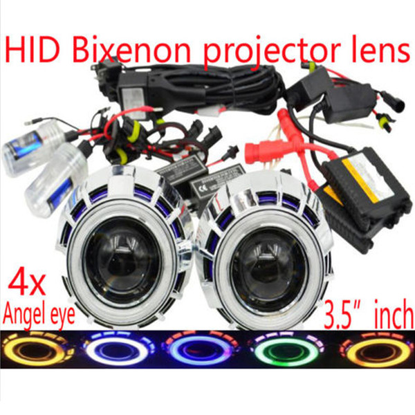 """3.5"""" inch Car Bi-Xenon HID Projector Lens Conversion Kit with Double angel eyes include HID Xenon bulb ballast headlight high low beams"""