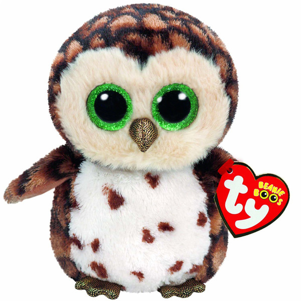 "Pyoopeo Ty Beanie Boos 6"" 16cm Sammy the Brown Owl Plush Regular Soft Big-eyed Stuffed Animal Collection Doll Toy with Heart Tag"