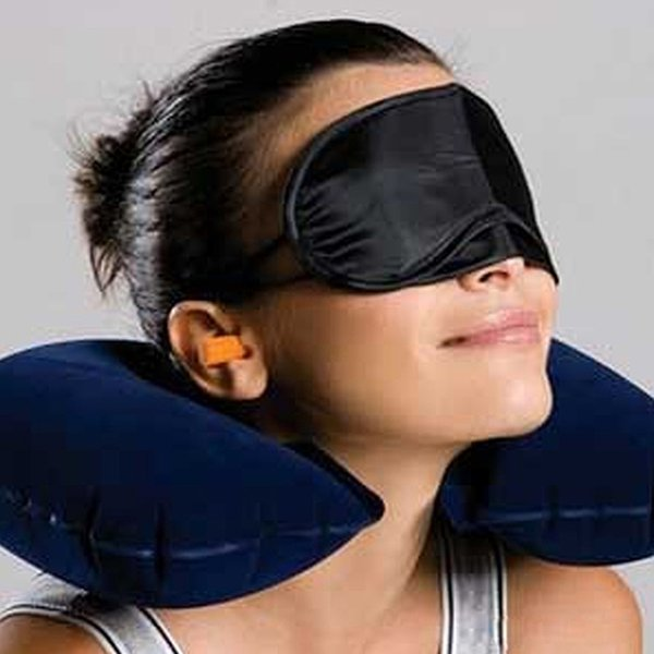3pcs set of Travel Kit Inflatable U shape Neck Pillow+eye mask+Ear Plugs,Car Flight Travel Inflatable Neck Rest Cushion U Pillow Eyeshade
