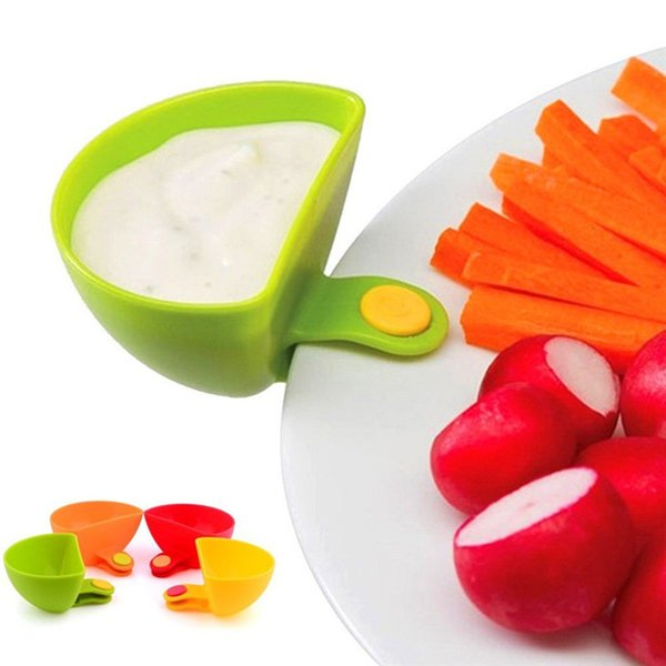 Multifunctional Plastic Sauce Dish Condiment SeasoningBox Dish Clip Salad Plates Creative Kitchen Accessory 4 Pieces Per Set
