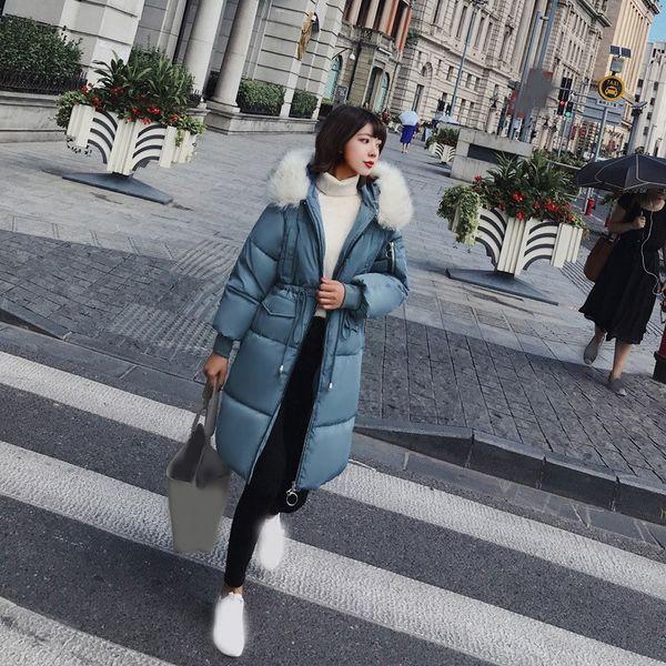 2018 Winter Women Long Parkas Coat Warm Big Fur Collar Thick Parka Outwear Ladies Slim Snow Wear Hooded Parkas