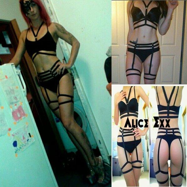 Sexy Lingerie set Tethered Underwear Black Elastic body harness lingerie for women Full Halloween Dance Garter Belt Goth Fetish Harajuku
