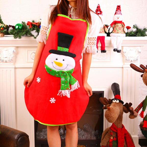 christmas apron sleeveless waterproof anti-oil aprons kitchen cooking waist bib women apron bbq santa snowman red cloth aprons