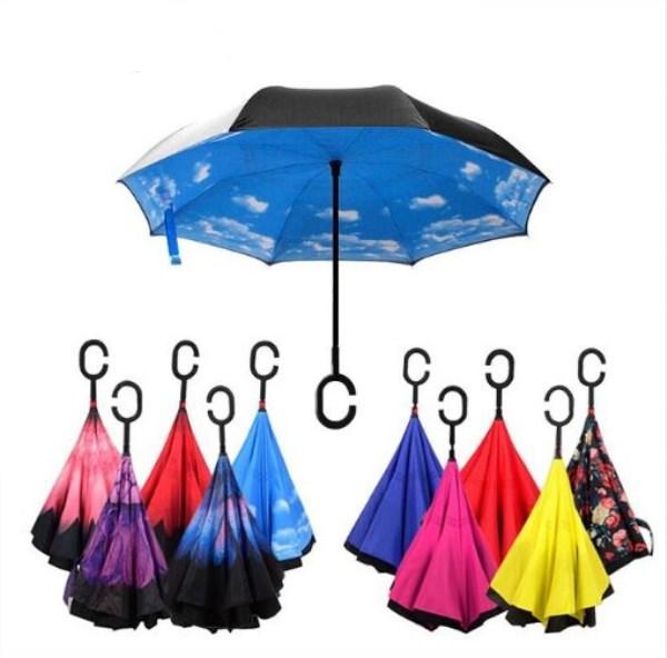 Faltender umgekehrter Regenschirm-Doppelschicht-umgekehrter windundurchlässiger Regen-Auto-Regenschirme für Frauen