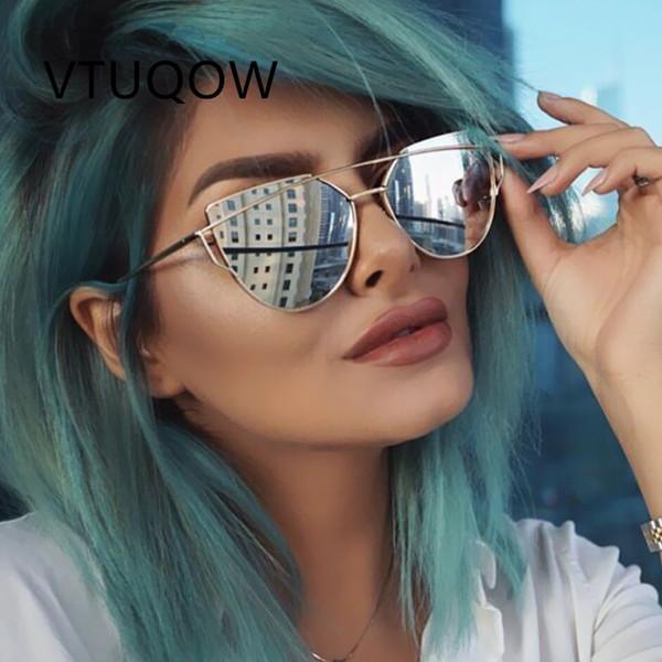 Mode Cool Cat Eye Sonnenbrille Frauen Nette Vintage Flat Top Sonnenbrille Weibliche Sonnenbrille Für Frauen Dame Sunglass Spiegel
